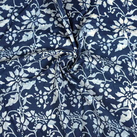 Dark Blue and White Leaf Pattern Cotton Block Print Fabric-14473