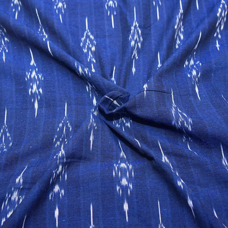 Dark Blue and White Unique Design Ikat Fabric-12049