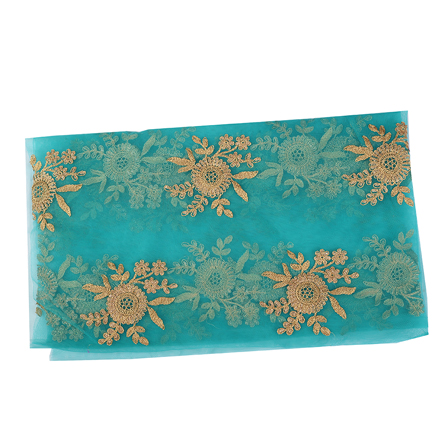Dark Cyan and Golden Floral Net Embroidery Fabric-60544