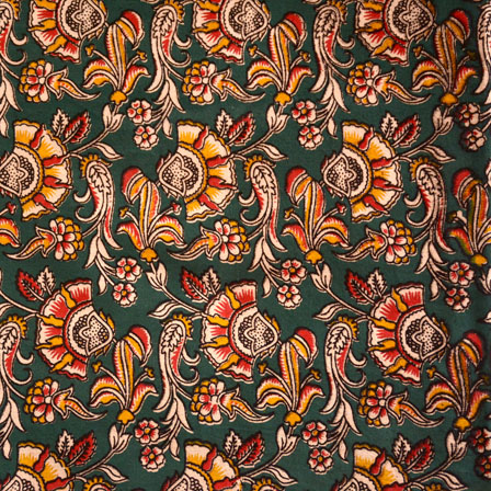 Dark Gray-Yellow and Red Floral Pattern Kalamkari Fabric-5452