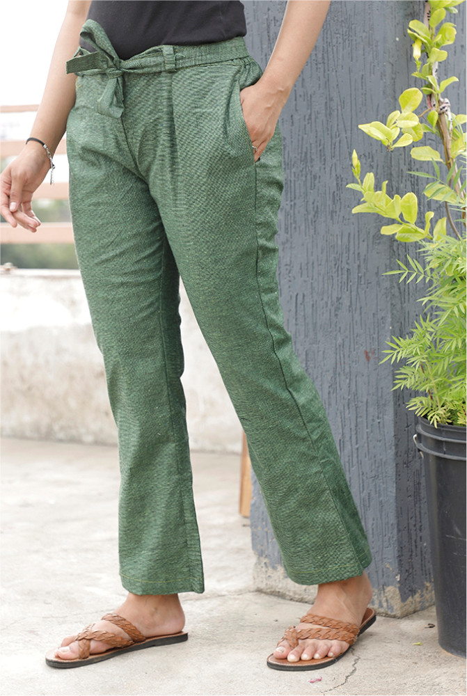 Dark Green Handloom Cotton Texture Narrow Pant with Belt-33909
