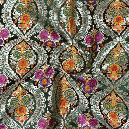 Dark Green Purple and Yellow Kinkhab Digital Banarasi Silk Fabric-9197