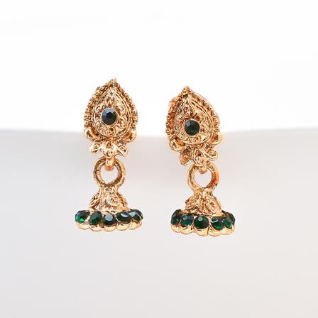 Dark Green Stone with Golden Polish Jhumki for Women