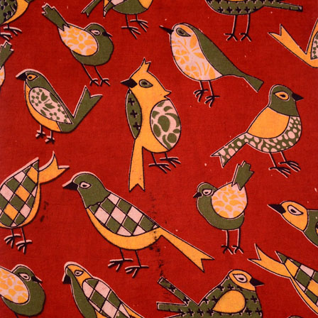 Dark Green-Yellow and Red Bird Pattern Kalamkari Fabric-5507
