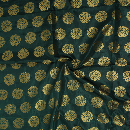 Dark Green and Golden Floral Design Brocade Silk Fabric-8357