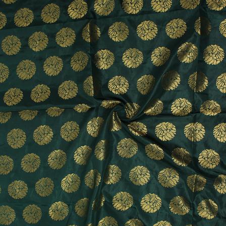Dark Green and Golden Floral Design Brocade Silk Fabric-8357