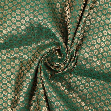 Dark-Green and Golden Flower Brocade Silk Fabric-8922