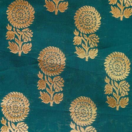 Dark Green and Golden Flower Brocade Silk Fabric by the yard