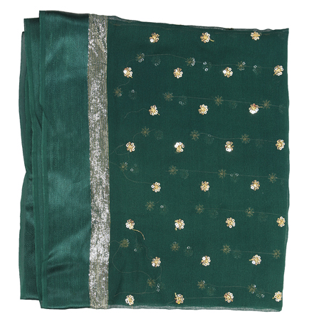 Dark Green and Golden Flower Chiffon Embroidery Fabric-29133