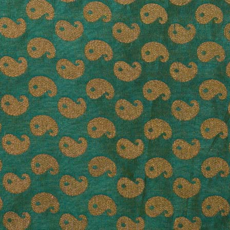 Dark Green and Golden Paisley Brocade Silk Fabric-1019