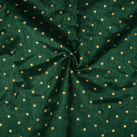 Dark Green and Golden Polka Design Silk Embroidery Fabric-60395