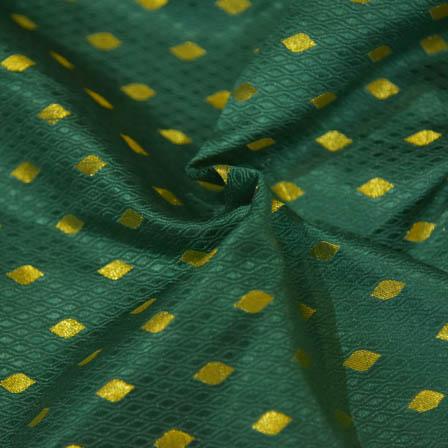 Dark Green and Golden Unique Pattern Brocade Silk Fabric-8055
