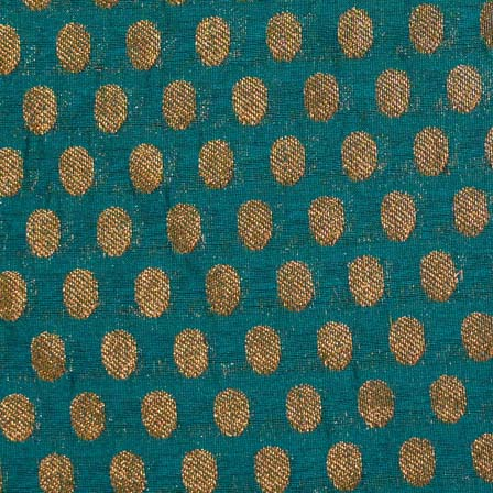 Dark Green and Golden Zari Work Brocade Silk Fabric by the yard