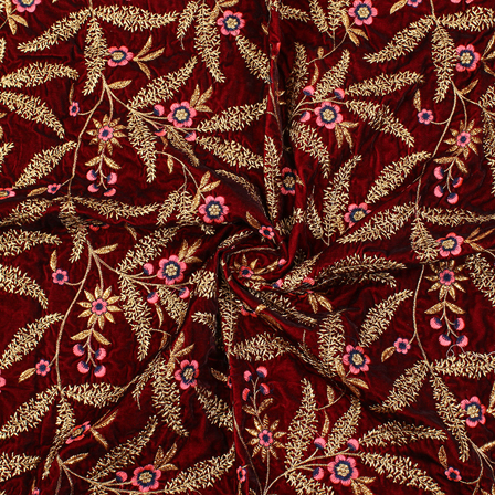 Maroon-Golden and Pink Floral Velvet Embroidery Fabric-60213