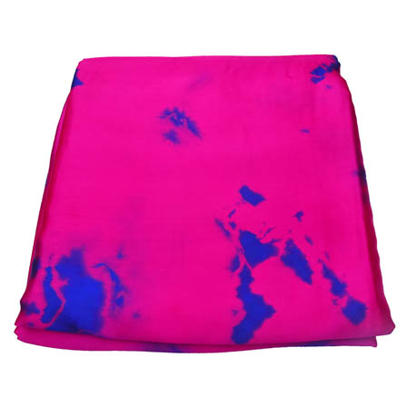 Dark Pink and Blue Batik Satin Fabric-32021
