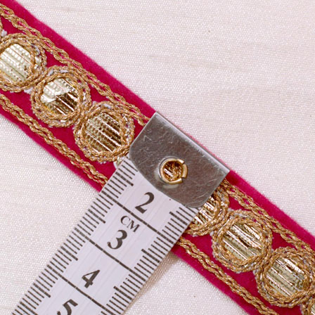 9 MTR Roll of Dark Pink and Gold Circular Design Gota Pati Saree Border Fabric-4053