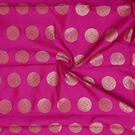 Dark Pink and Golden Circular Pattern Brocade Silk Fabric-8342