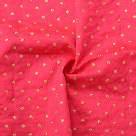 Dark Pink and Golden Polka Dot Pattern Silk Embroidery Fabric-60163