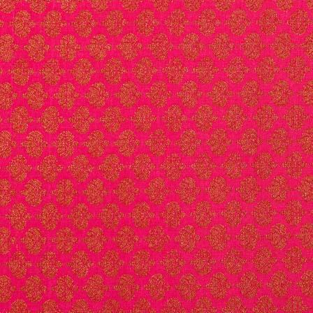 Dark Pink and Golden Flower Pattern Brocade Silk Fabric-1035