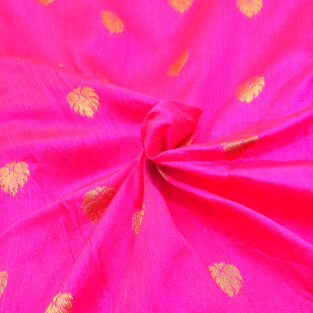 Dark Pink and Golden Leaf Design Brocade Silk Fabric-8147