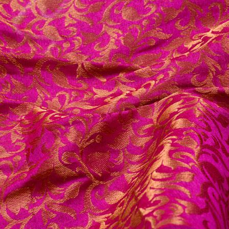 Dark Pink and Golden Leaf Shape Chanderi Silk Fabric-5468