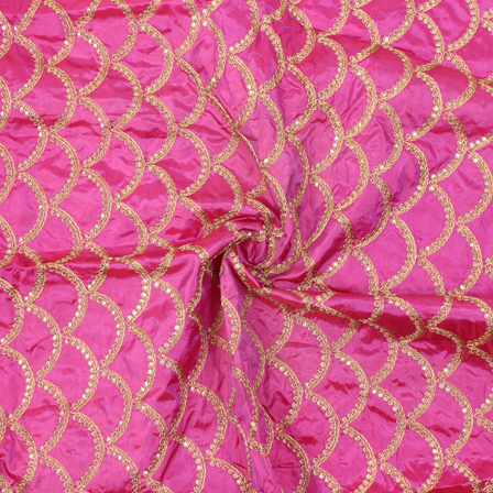 Dark Pink and Golden Semi Circular Pattern Silk Embroidery Fabric-60147
