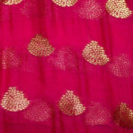 Dark Pink and Golden Tree Pattern Chiffon Fabric-4358