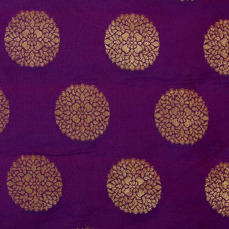 Dark Purple and Golden Circular Pattern Brocade Silk Fabric by the yard