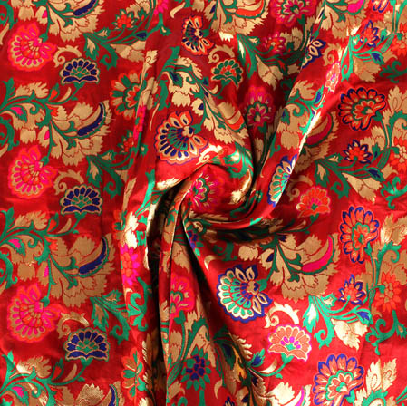 Dark Red Golden and Green Floral Banarasi Silk Fabric-9444