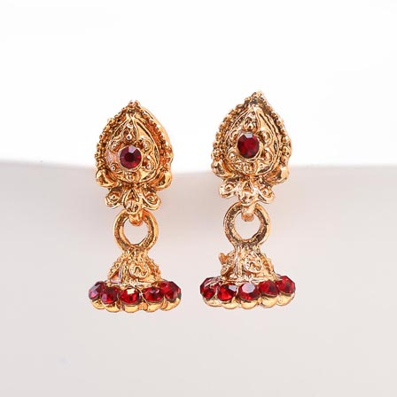 Dark Red Stone with Golden Polish Jhumki for women