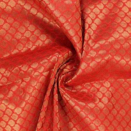 Dark-Red and Golden Floral Brocade Silk Fabric-8936