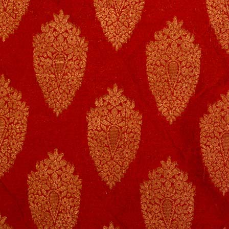 Dark Red and Golden Zari Work Brocade Silk Fabric by the yard