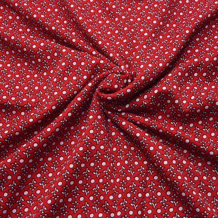 Dark Red and White Small Flower Pattern Crepe Fabric-18084