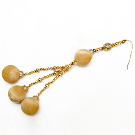 Decorative Golden Latkans with Gold Pom Pom and Hanging Beaded-0047