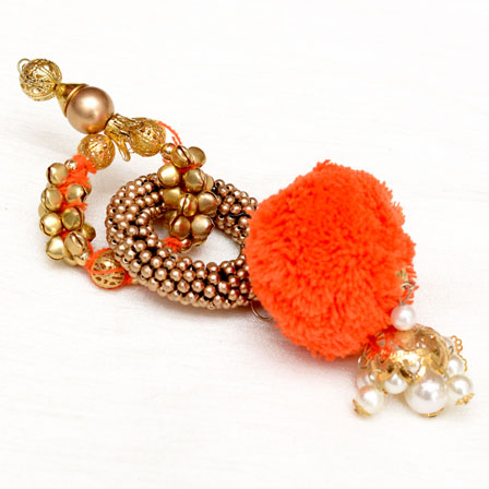 Decorative Handmade Twice Circular Design with Orange Latkans-0053