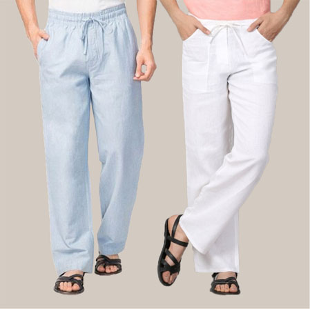 Combo of 2 Cotton Men Handloom Pant Denim and White-35967