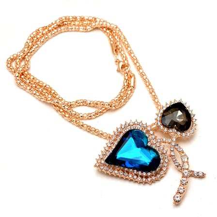Dual Love Pattern with Golden Polish Chain Neckless for Women