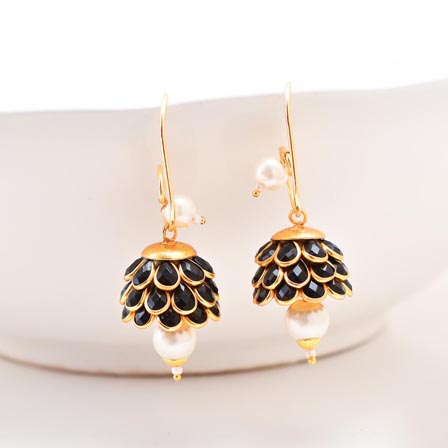 Floral Design White Moti and Black Stone with Golden Border Earring for Women