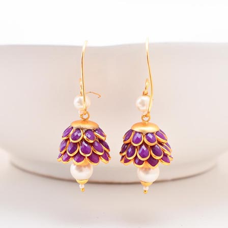 Floral Design White Moti and Purple Stone with Golden Border Earring for Women