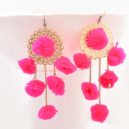 Floral Pattern Pink Handcrafted Pom Pom Fabric Drop Earring for Women