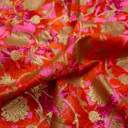 Foil prined flower shape kota doria fabric-4922