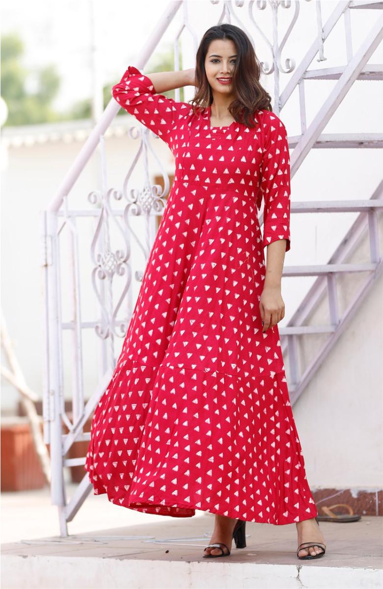 Red-White Full Flare Long dress for women-k82-33603