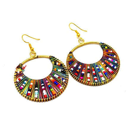 Gold Brass with Multicolor Pearls Drop Earring for Women