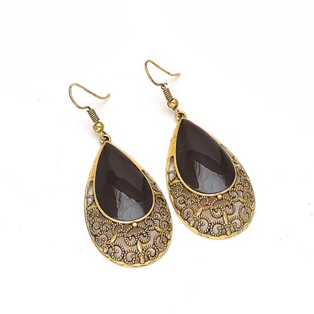 Gold Egg Shape Drop Earring with Black Stone for Women