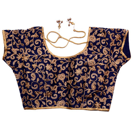 699cb41535e4c Buy Gold and Blue Embroidery Silk Lining Padded Readymade Blouse-7156
