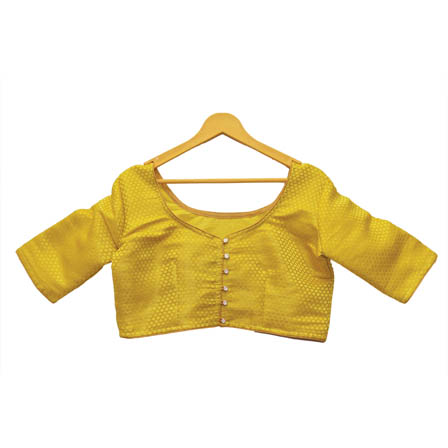 Golden and Yellow Unique Silk Brocade Blouse-30136