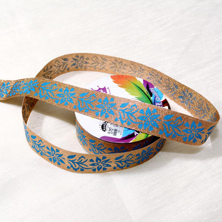 9 MTR Roll of Golden  and Sky Blue Flower Shape Jacquard lace or trim-4072
