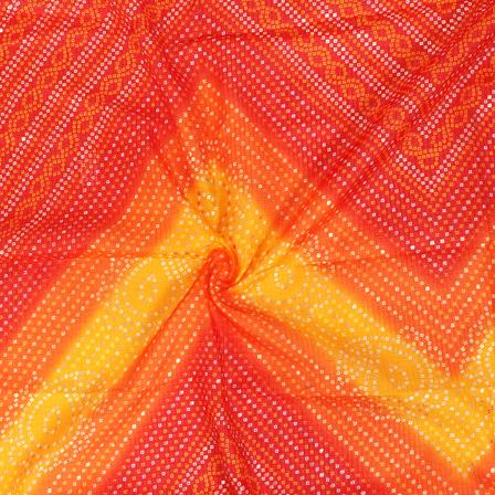 Golden Bandhej Design On Yellow and Orange Kota Doria Fabric-25037