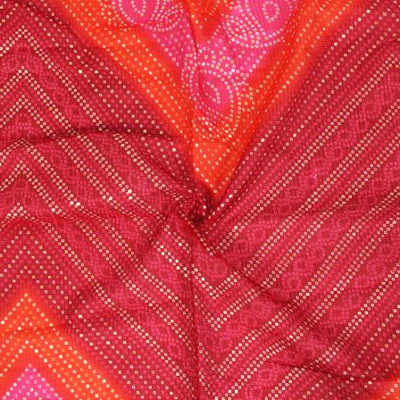 Golden Bandhej Pattern On Pink and Orange Kota Doria Fabric-25038