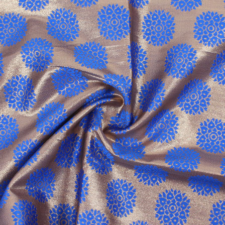 Golden Blue Brocade Silk Fabric-8993